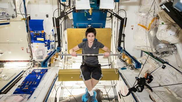 Italian astronaut Samantha Cristoforetti exercising aboard the ISS. (Image credit: ESA).