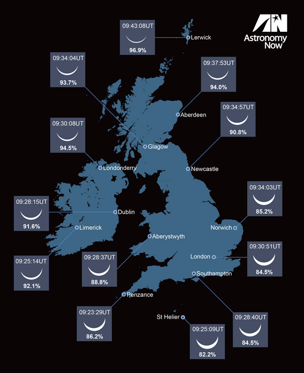 What the eclipse will look like around the UK. Image credit: Greg Smye-Rumsby for Astronomy Now.