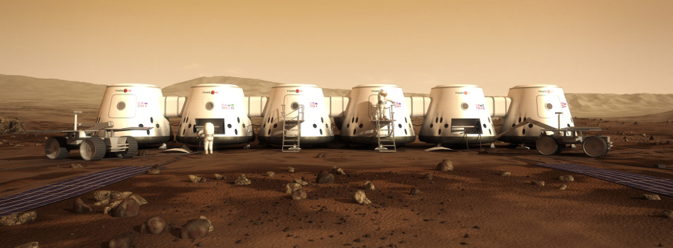 An artist's idea of what a Mars settlement could look like. (Image credit: Mars One).