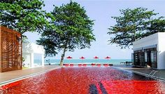 A swimming pool with red tiles stops the water looking blue. Image credit: Pinterest.