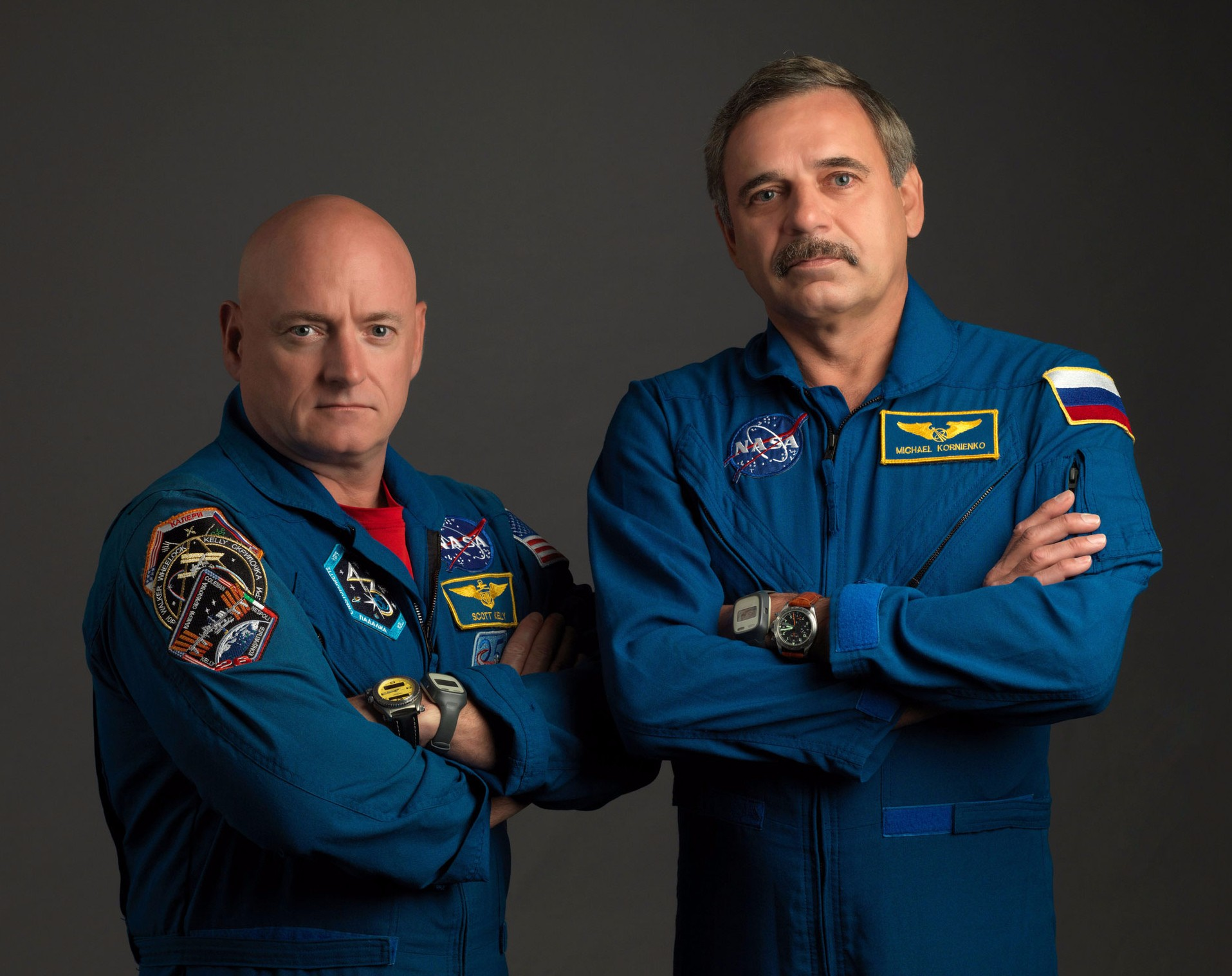 Scott Kelly (left) and Mikhail Kornienko (right) will spend 342 days in space. (Image credit: NASA/Bill Stafford).
