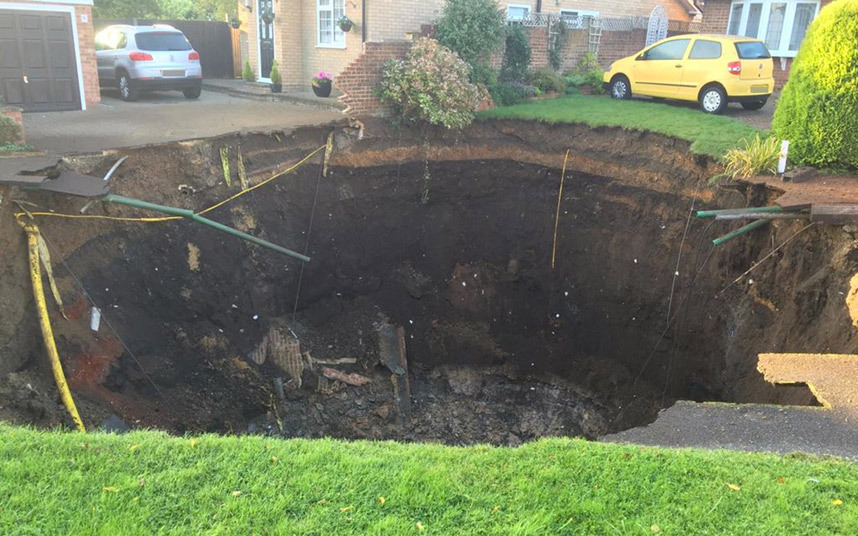 A sinkhole opened up this week in St Albans, UK. It measures 20 metres across and is thought to be 10 metres deep.