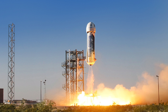 Blue Origin's New Shepard craft launches from Texas. (Image credit: Blue Origin).