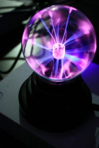 You can clearly see the Tesla coil in the centre of the plasma ball. (Image: Hillary).