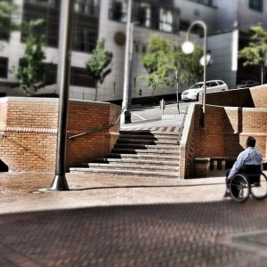 Getting around would be a lot easier if wheelchairs could climb stairs. (Image: Sandra Fernandez).